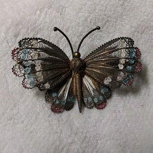Antique Filigree Butterfly Pin 800 Silver w Enamel